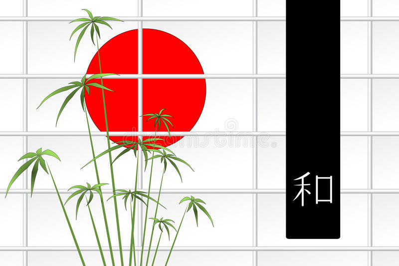 Ikebana with sun and ideogram vector illustration