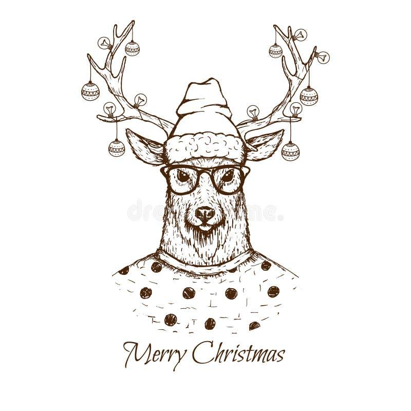 Iklädd blus för julhjortar royaltyfri illustrationer