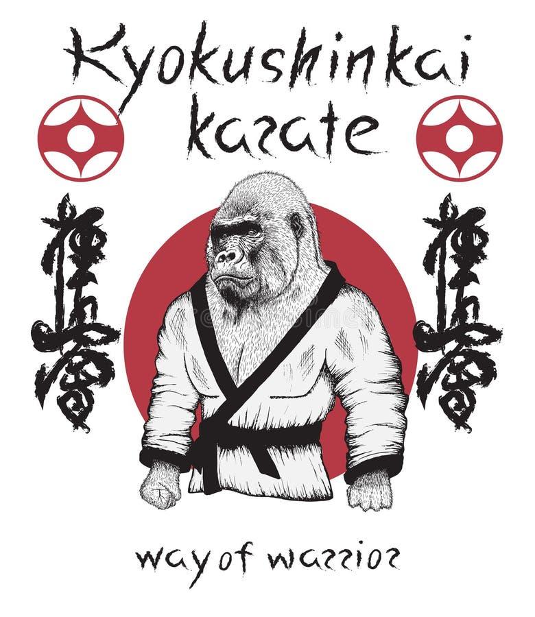 Iklädd kimono för gorilla royaltyfri illustrationer
