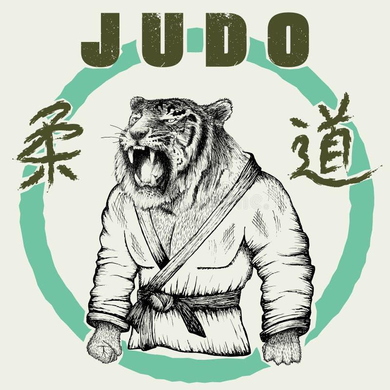 Iklädd kimono för Judoka tiger vektor illustrationer
