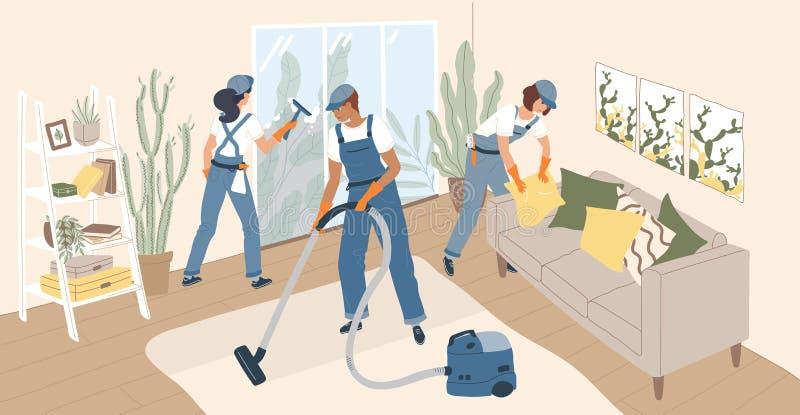Iklädd likformig för grupp människor som gör rengöring av rum Lag av rengörande servicearbetare, hem- rengöringsmedel eller stock illustrationer