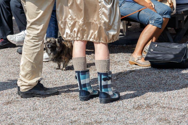 Iklädda gummistöveler för en kvinna och woolen sockor, litet litet royaltyfria foton