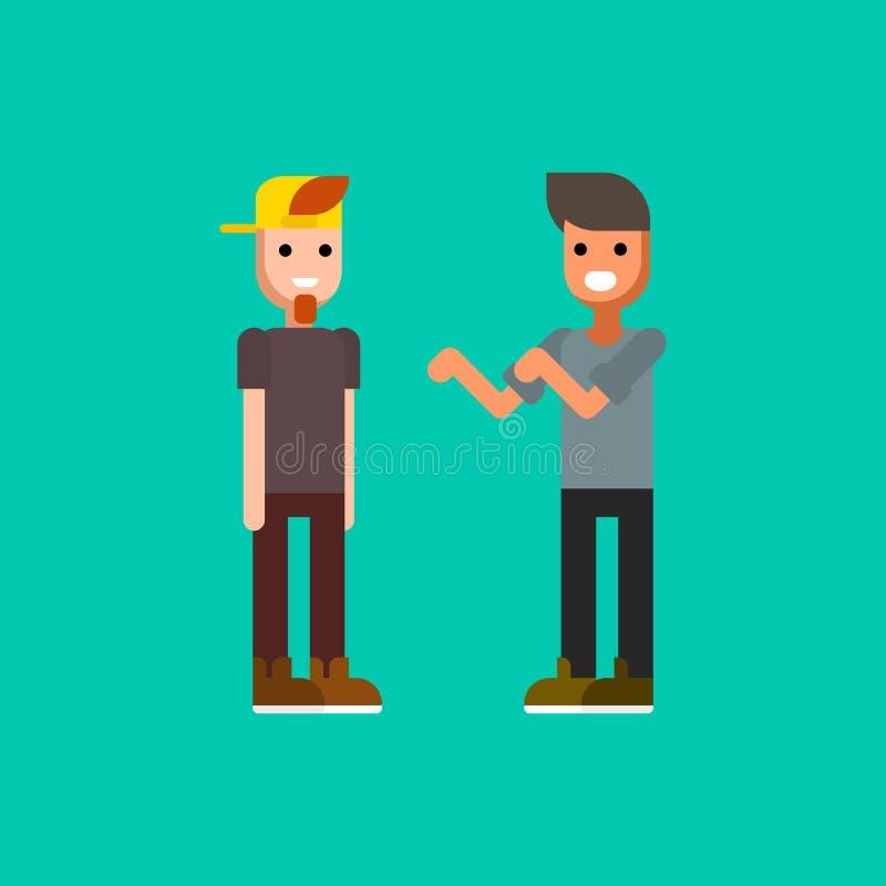 Iklädda moderna kläder för två unga män som till varandra talar Rap eller höftflygturstrid royaltyfri illustrationer
