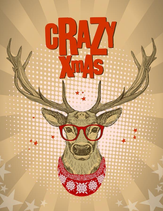 Iklädda röda exponeringsglas för Hipsterhjortar och stucken tröja royaltyfri illustrationer