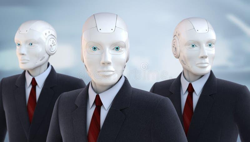 Iklädda robotar en affärsdräkt royaltyfri illustrationer