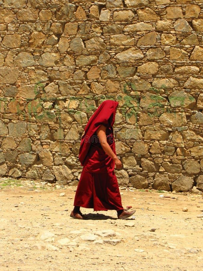 Iklätt rött för munk på den Samye kloster, Tibet, Kina royaltyfri bild