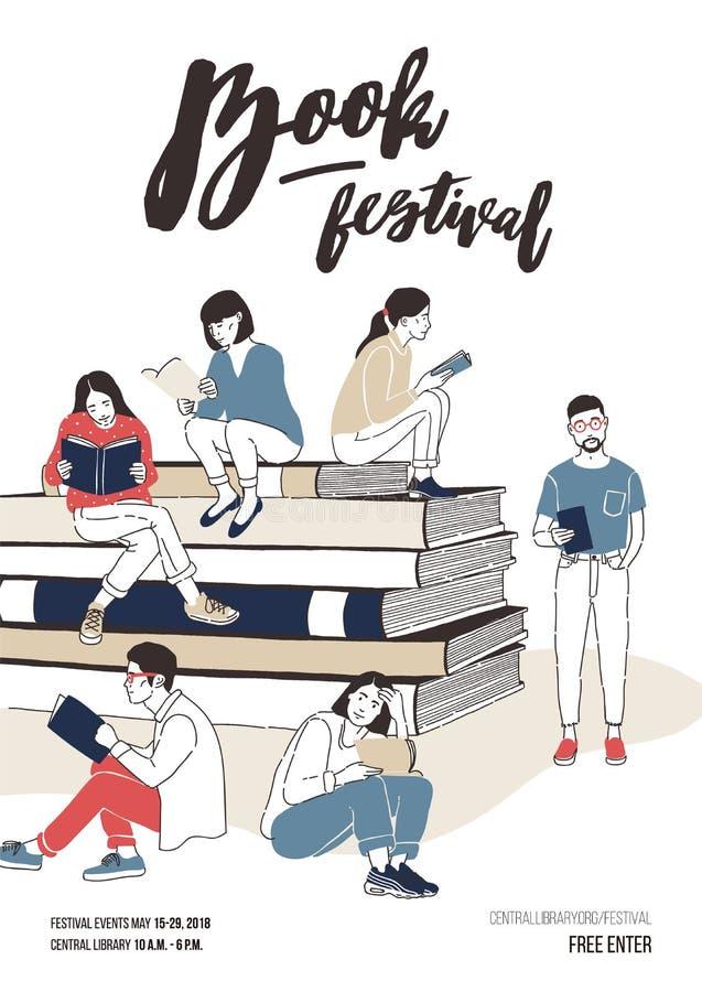 Iklätt stilfullt klädsammanträde för unga män och för kvinnor på bunt av jätteböcker eller bredvid den och att läsa färgrikt stock illustrationer