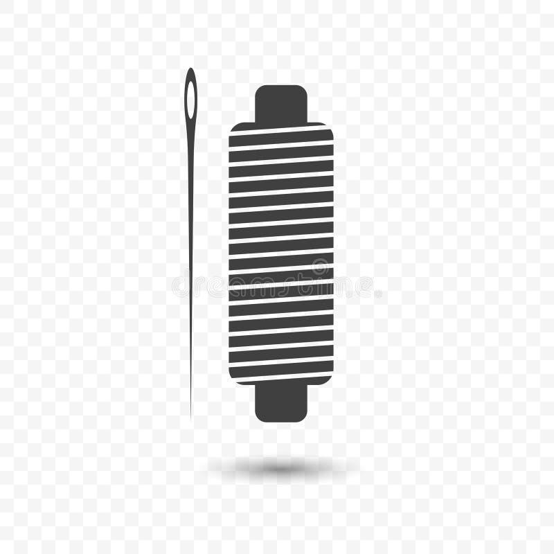 Ikon cewy nić dla szyć z igłą Wektorowa ilustracja na przejrzystym tle royalty ilustracja