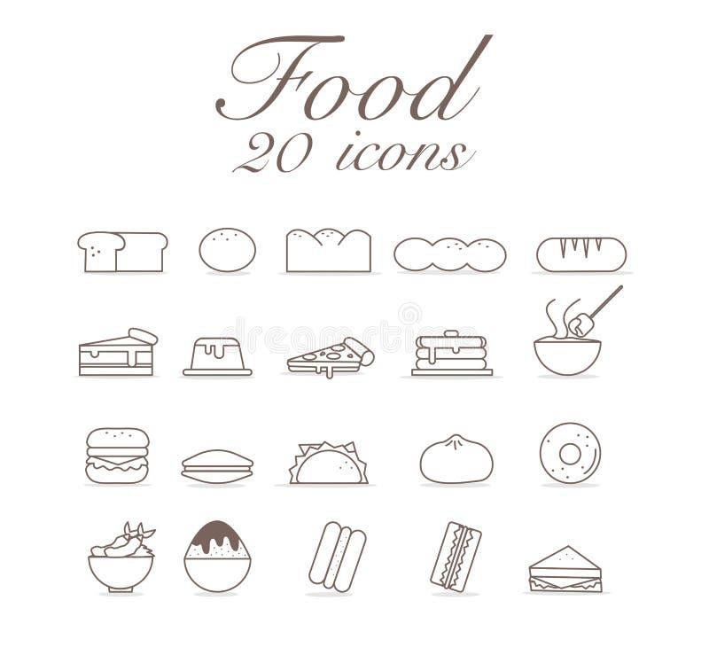 20 ikon dla jedzenie ustalonego infographic projekta ilustracji
