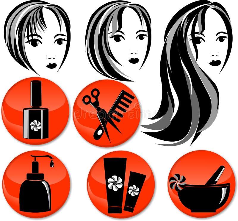 8 ikon dla włosianego salonu fotografia royalty free