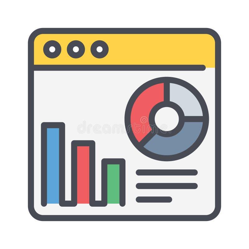 Ikon för analyskonturvektor illustration av ett enkelt kapitelfyllt element från affärskonceptet redigerbar vektor stock illustrationer
