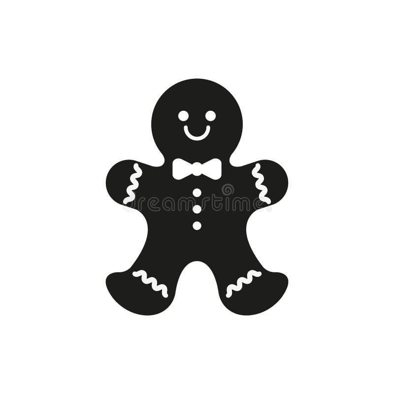 Ikon för bröd Konfektyrsymbol för julhelger Enkel vektorillustration vektor illustrationer