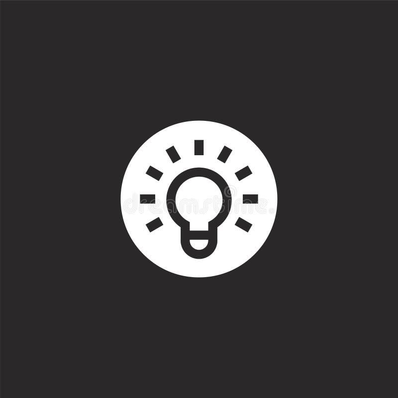 ikon för glödlampa Ikonen med fylld lampa för webbplatsdesign och mobil, apputveckling lamporikon från ifylld inlärning royaltyfri illustrationer