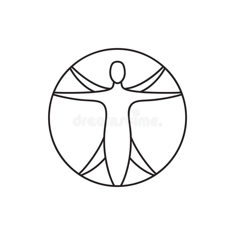 Ikon för konturvektor för den vitruviske mannen Tecken på mänsklig figur omgiven av en cirkel för att illustrera symmetri och bal vektor illustrationer