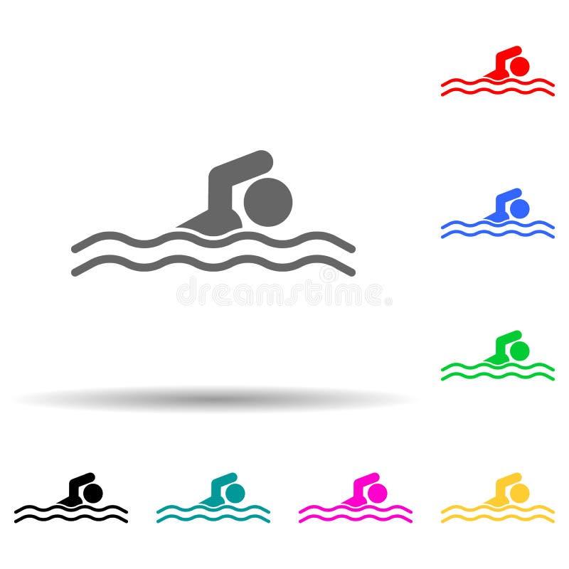Ikon för multifärgsformat för idrottssimning med inaktiverat idrottstecken Enkla tecken, platta vektorer för tävlingsikoner för u vektor illustrationer