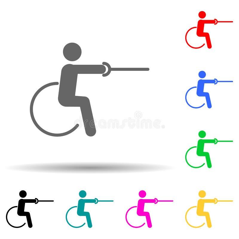 Ikon för multifärgsformat för inaktiverat idrottssvärd Enkla tecken, platta tävlingsikoner för ui och ux, webbplats eller royaltyfri illustrationer