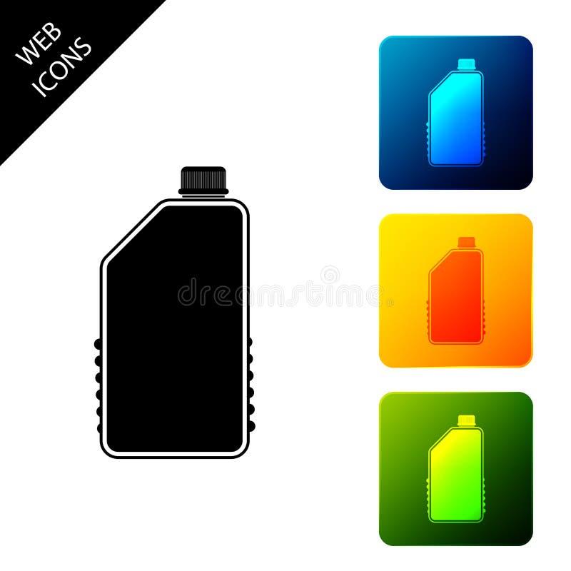 Ikon för tom plastflaska för hushåll isolerad Flytande tvättmedel eller tvål, fläckborttagare, tvättblekmedel vektor illustrationer