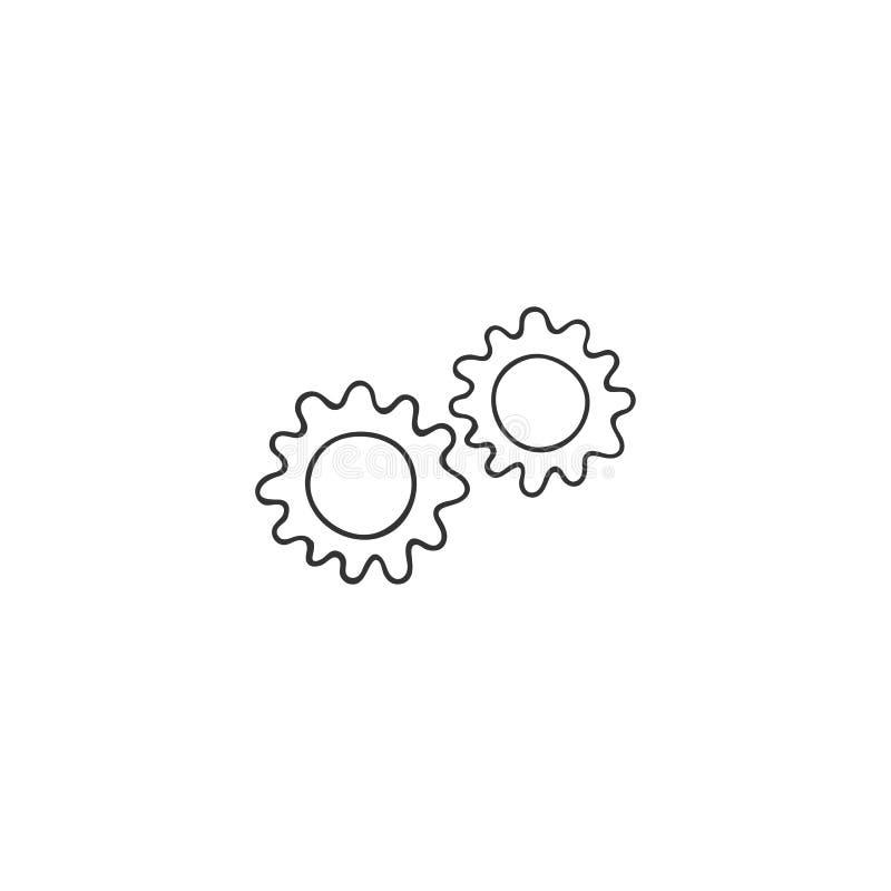 Ikon för vektorhandritad Koncept för växlar, silhuett, smart mekanism Tema för bostäder och hemreparationer stock illustrationer