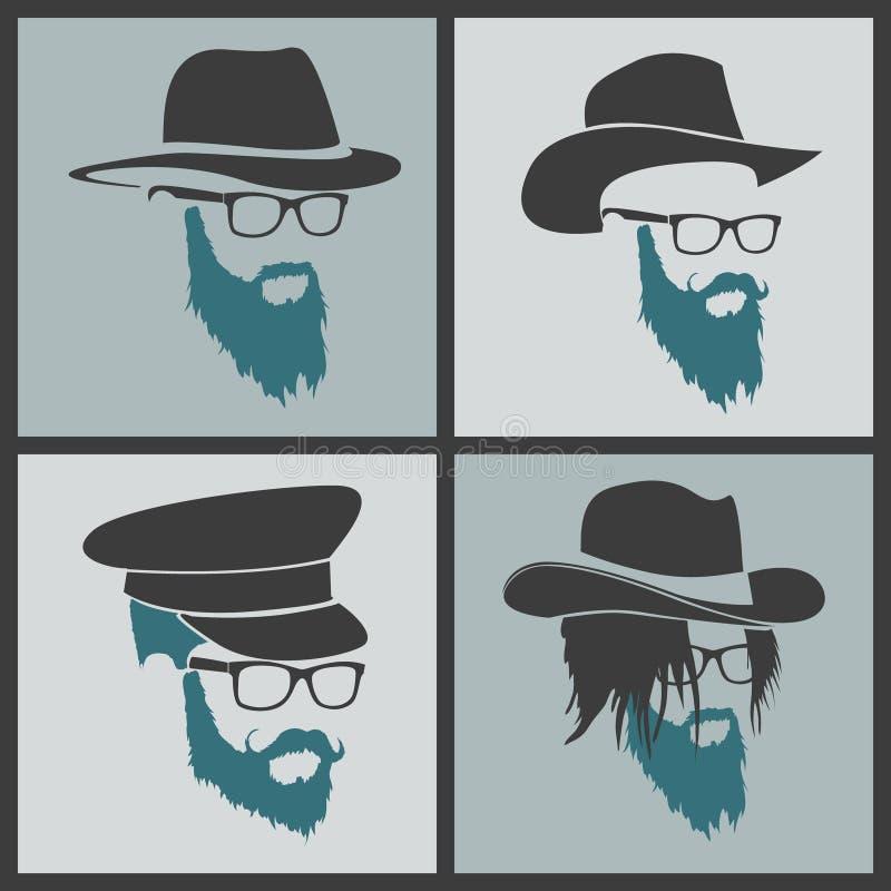 Ikon fryzur broda i wąsy modniś folujący ilustracja wektor