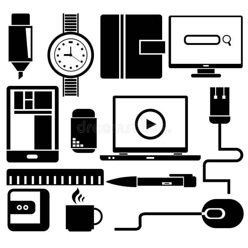 ikon ilustracyjny biurowy ustalony materiałów wektor ilustracji