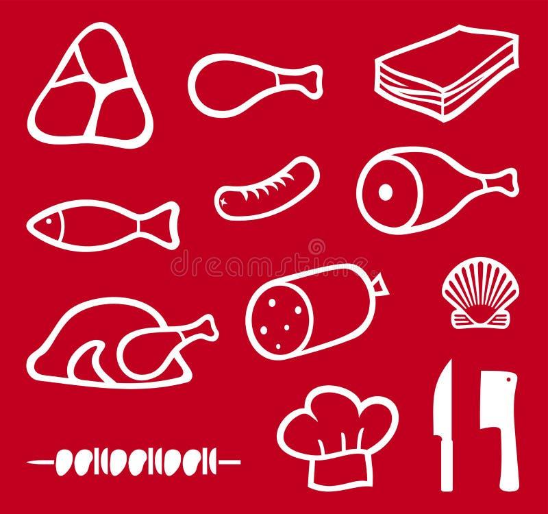 ikon mięsa set ilustracji