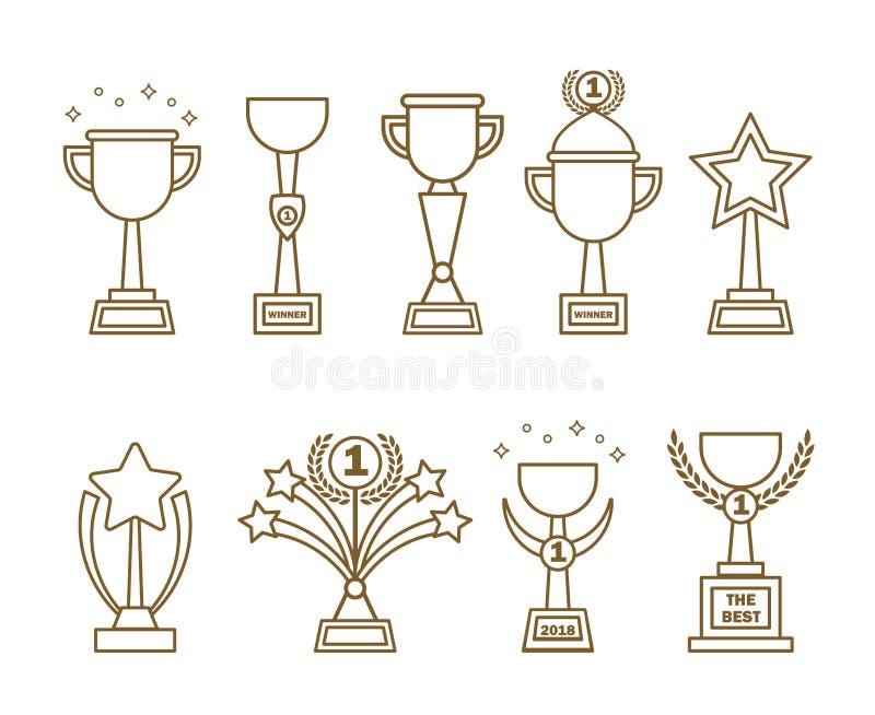Ikon nagród filiżanki ustawiać ilustracja wektor