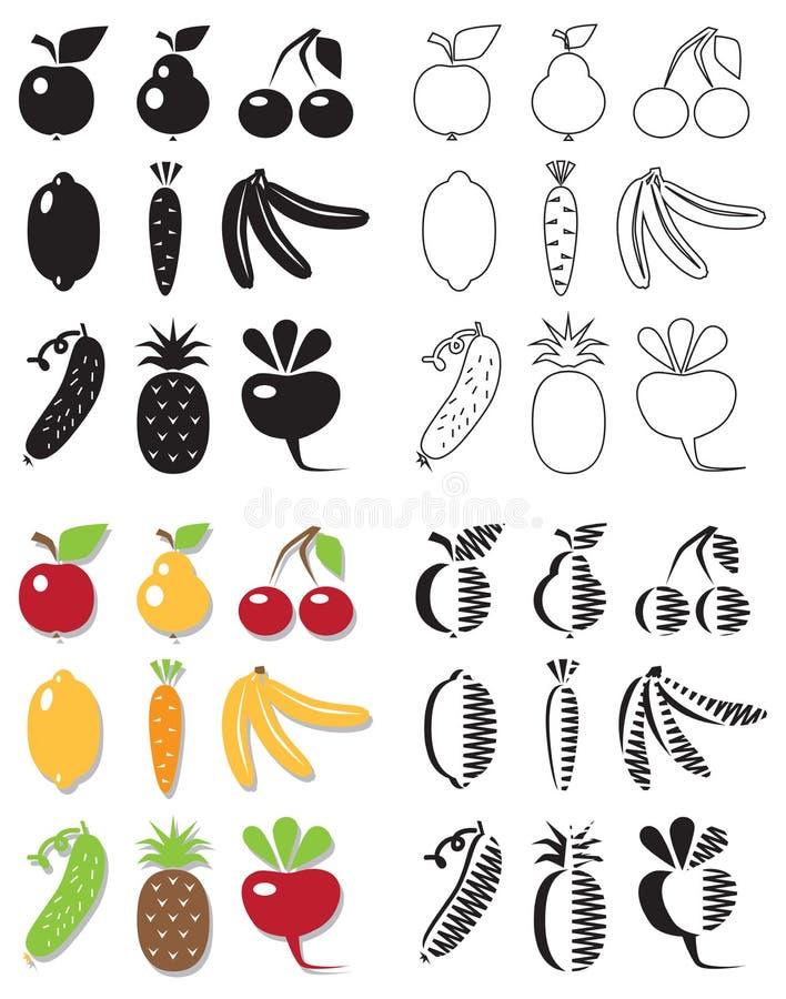 Ikon owoc i warzywa ilustracji