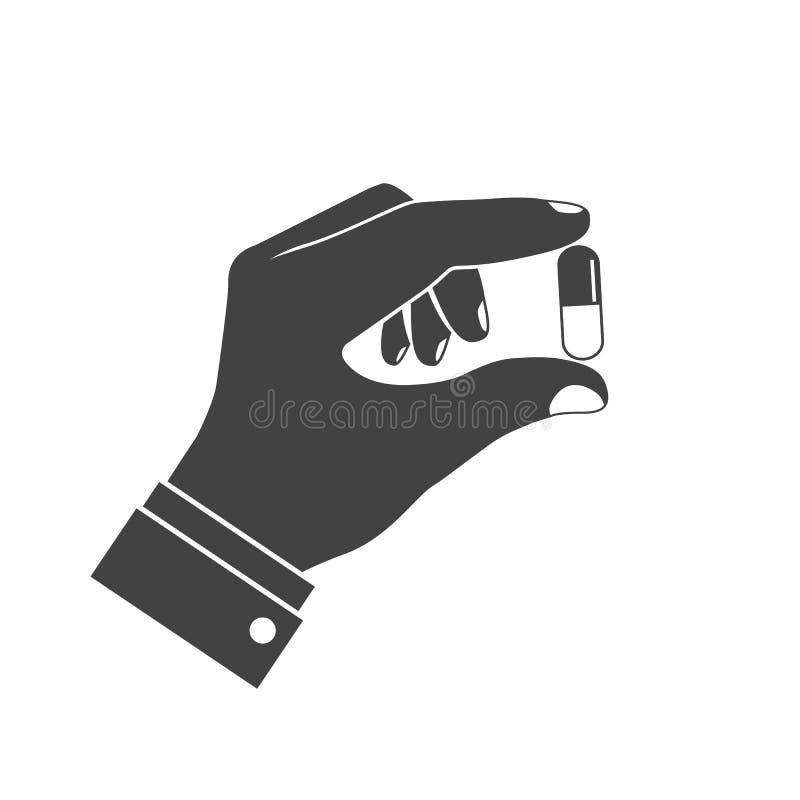 Ikon pigułki w ręce royalty ilustracja