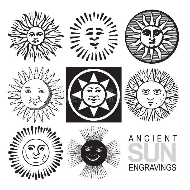 ikon retro słońca wektor royalty ilustracja
