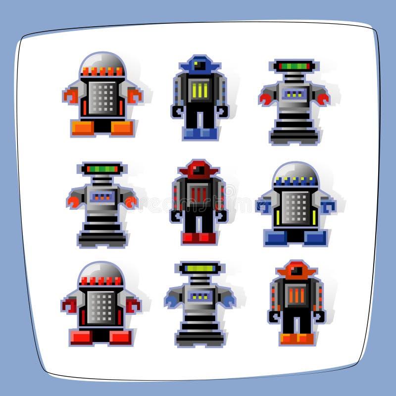 ikon robot piksla sztuk ilustracja wektor