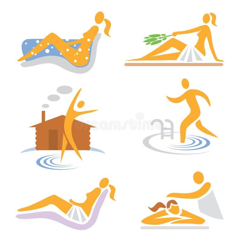 ikon sauna zdroju wellness royalty ilustracja