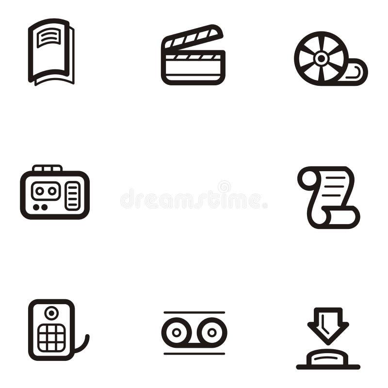 ikon serię prostych medialnych royalty ilustracja
