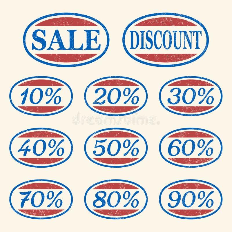 ikon sprzedaży ustalony rocznik ilustracja wektor