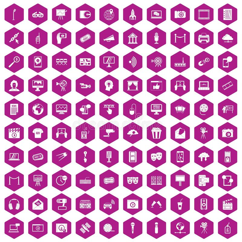 100 ikon sześciokąta multimedialny fiołek ilustracji