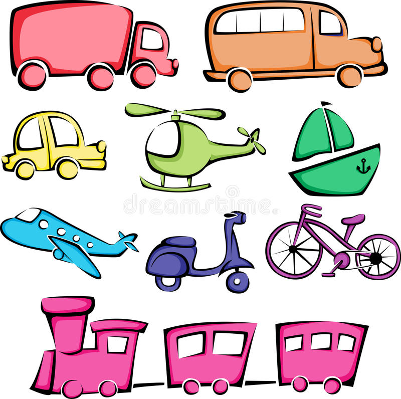ikon transportu pojazdy ilustracja wektor