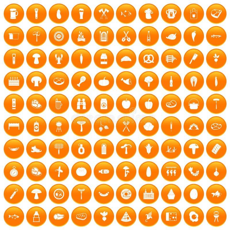 100 ikon ustawiająca grill pomarańcze ilustracji