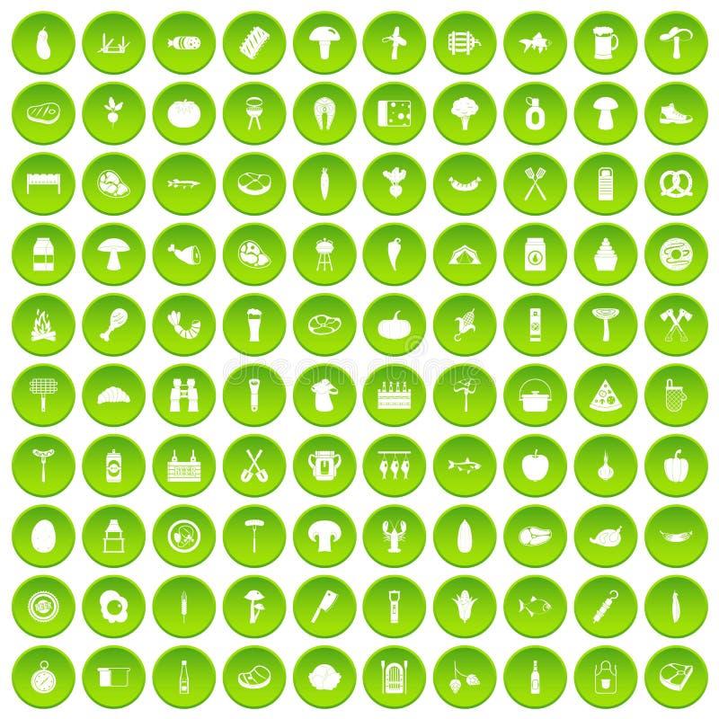 100 ikon ustawiająca grill zieleń ilustracja wektor