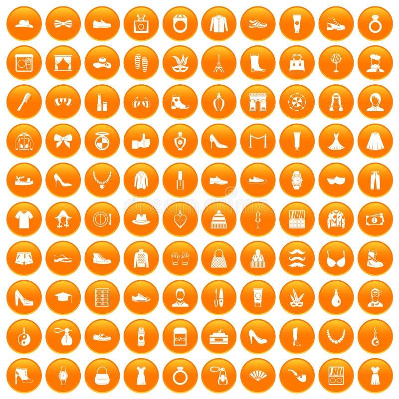 100 ikon ustawiająca mody pomarańcze ilustracji