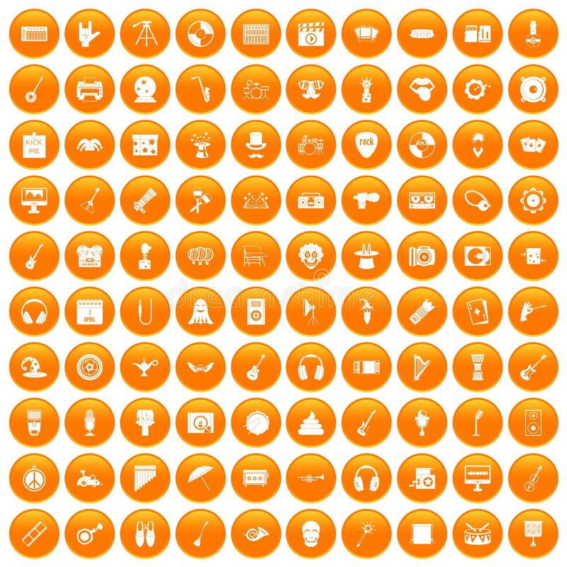 100 ikon ustawiająca show biznes pomarańcze royalty ilustracja