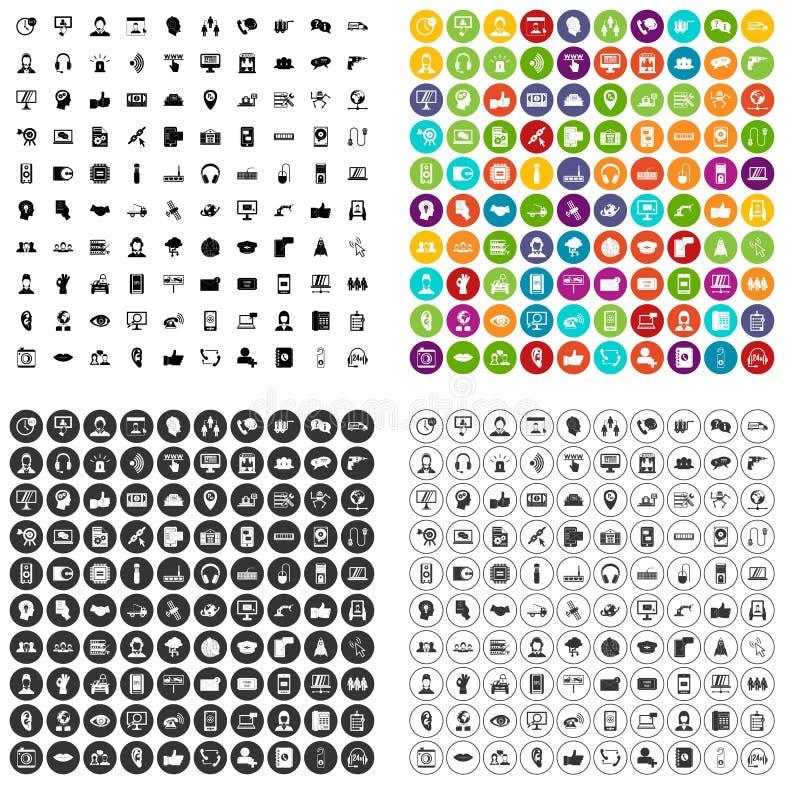 100 ikon ustawiający centrum telefoniczne wektorowy wariant royalty ilustracja