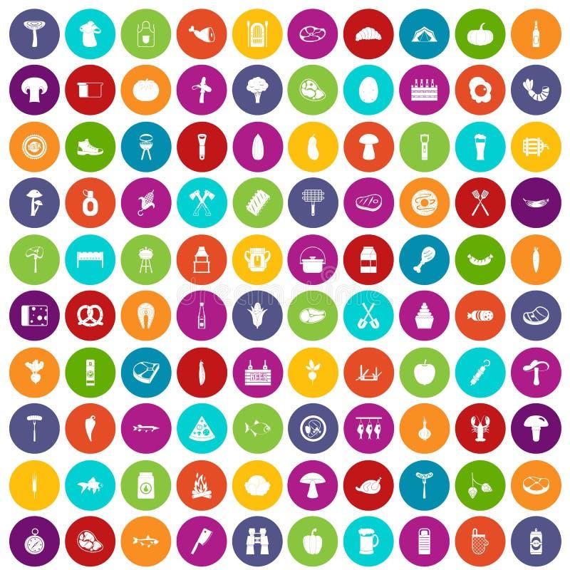 100 ikon ustawiający grilla kolor ilustracja wektor