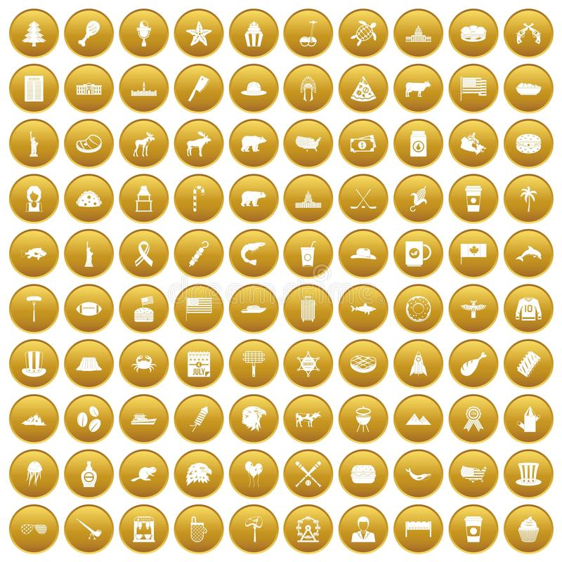 100 ikon ustawiający Północna Ameryka złoto royalty ilustracja
