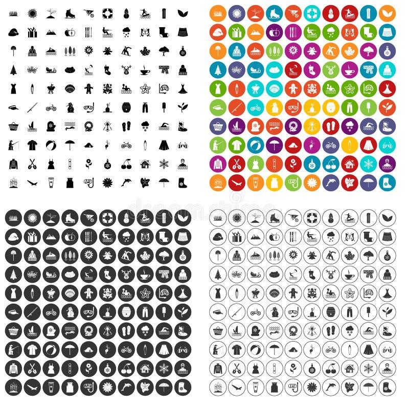 100 ikon ustawiający sezonu wektorowy wariant royalty ilustracja
