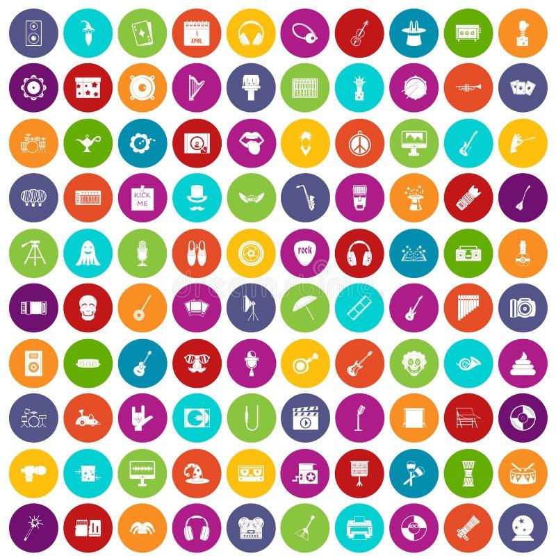 100 ikon ustawiający show biznes kolor ilustracja wektor