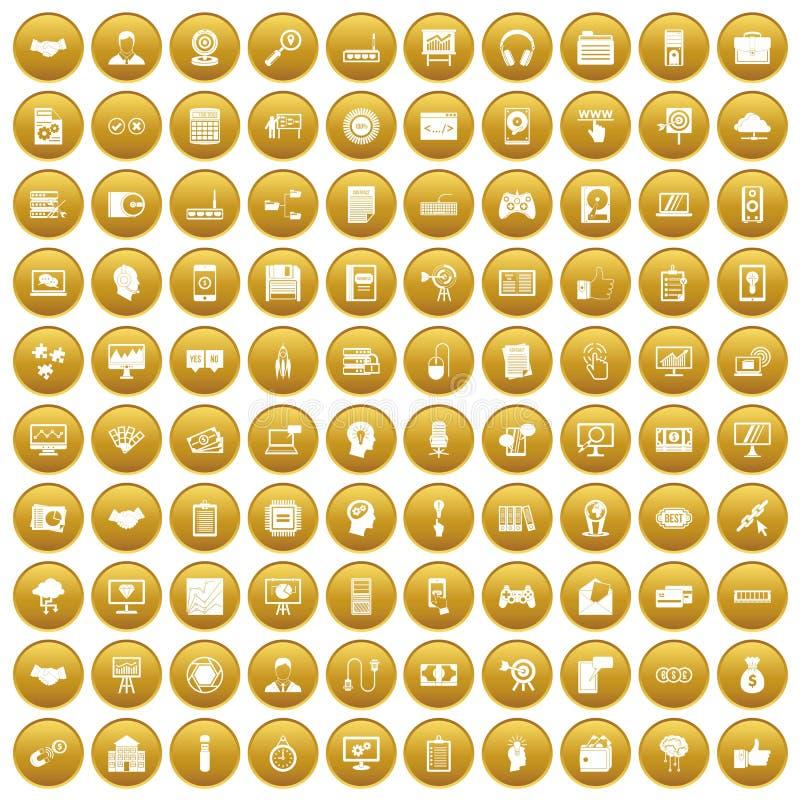 100 ikon ustawiający sieć rozwoju złoto ilustracji