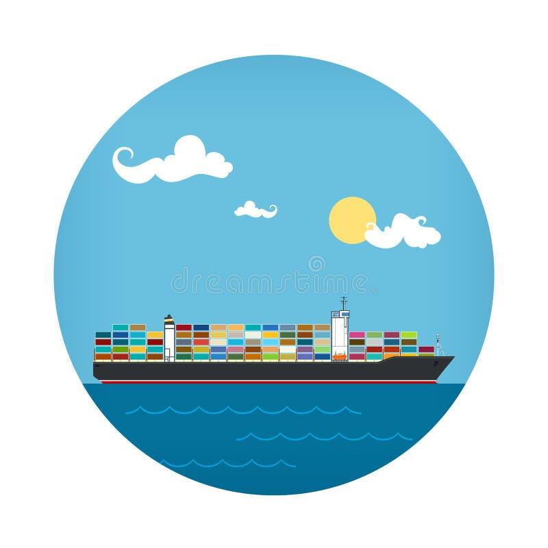 Ikona ładunku zbiornika statek ilustracja wektor
