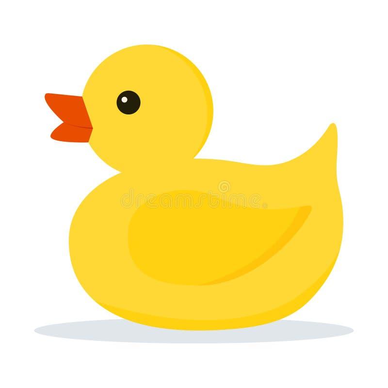 Ikona śliczna mała żółta guma lub plastikowa kaczki zabawka dla skąpania odizolowywającego na białym tle ilustracja wektor