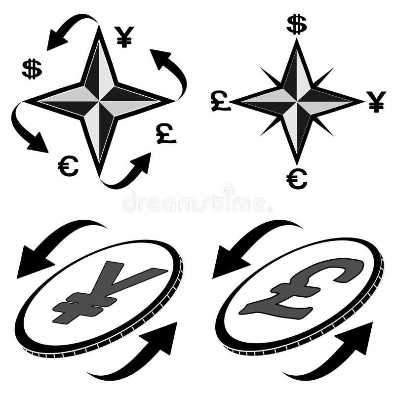 ikona 2 pieniężnego symbolu ilustracja wektor