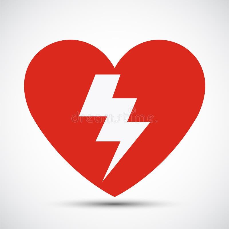 Ikona Aed heart red Symbol Izolacja na białym tle,Ilustracja wektorowa EPS 11 royalty ilustracja