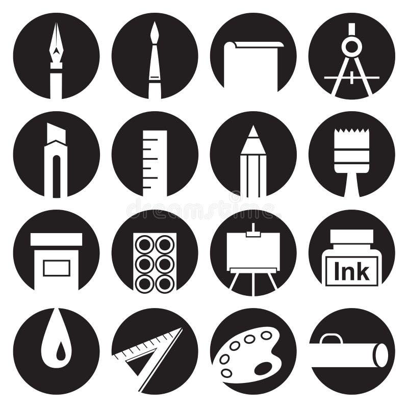 Ikona atrybuty sztuka w okręgach ilustracji